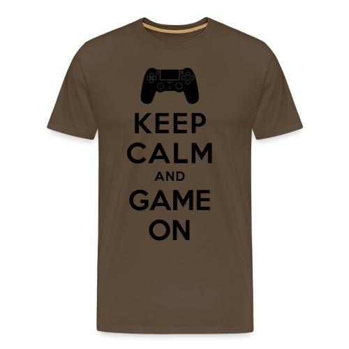keep_calm_game_on_black - Herre premium T-shirt