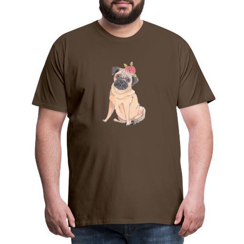 Pug with flower - Herre premium T-shirt