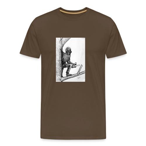 Arborist Tree Surgeon Using a Chainsaw - Men's Premium T-Shirt