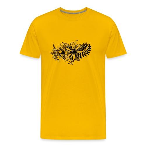 Black Flower Artwork - Men's Premium T-Shirt