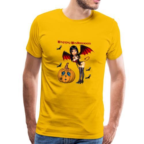 Happy Halloween Kürbis mit Fledermausgirl - Männer Premium T-Shirt