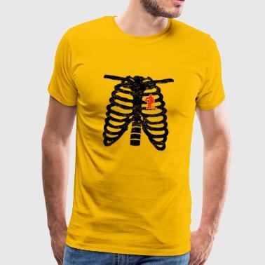 corazón del esqueleto de hockey sobre hielo hockey sobre amor icehocke corazón - Camiseta premium hombre