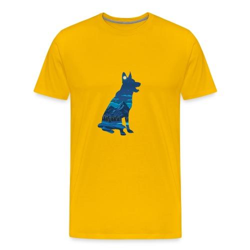 Hund bei Nacht in den Bergen - Männer Premium T-Shirt