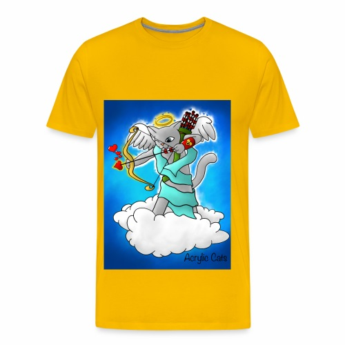 Valentine's Day Smokey Grey Cupid Cat - Men's Premium T-Shirt