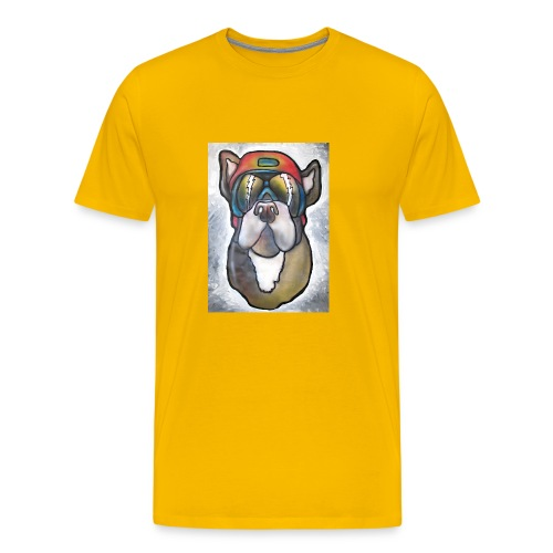 Bulldogge mit Sonnenbrille und Helm - Männer Premium T-Shirt