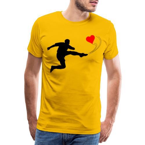 Mann kickt Herz, Man kick a Heart, Love, Sport - Männer Premium T-Shirt
