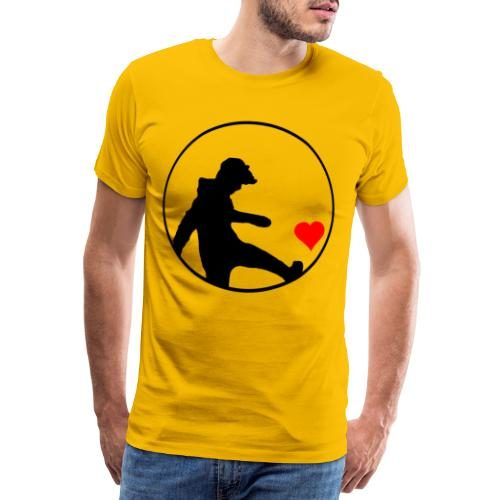 Junge kickt Herz, Man kick a Heart, Love, Sport - Männer Premium T-Shirt