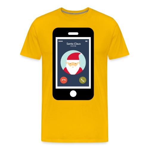 Santa Claus am Handy. Anruf vom Weihnachtsmann. - Männer Premium T-Shirt