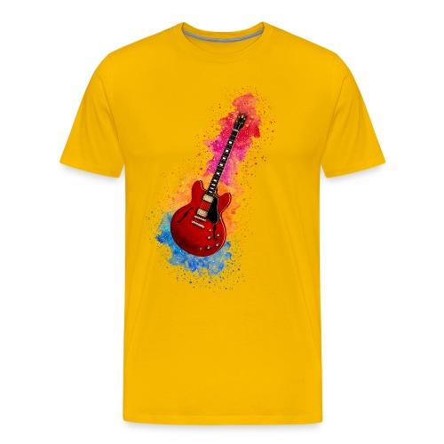 Cool Watercolour Splash Rock Guitar - Men's Premium T-Shirt
