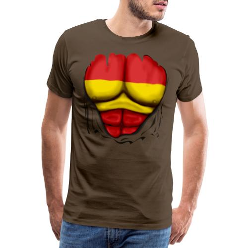España Flag Ripped Muscles six pack chest t-shirt - Men's Premium T-Shirt