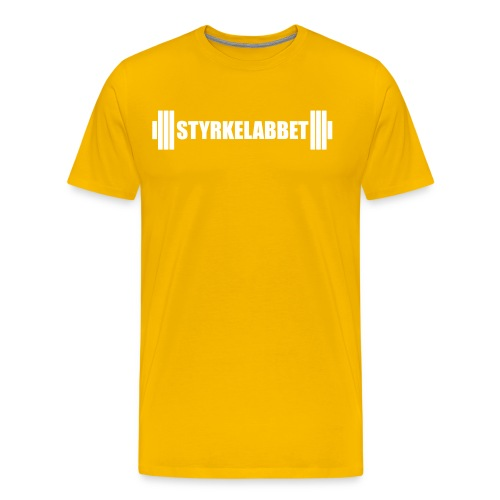 Styrkelabbet vit logotyp - Premium-T-shirt herr