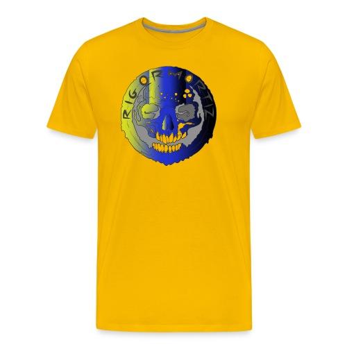 Rigormortiz Metallic Yellow Blue Design - Men's Premium T-Shirt