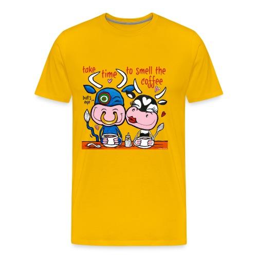 Verliefde koeien drinken koffie - Mannen Premium T-shirt