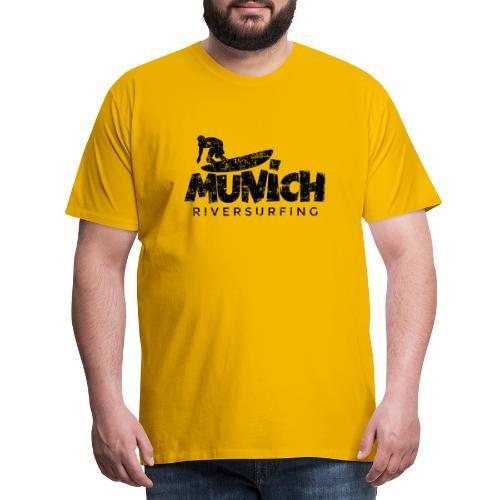 Munich Riversurfing München Surfer Vintage Schwarz - Männer Premium T-Shirt