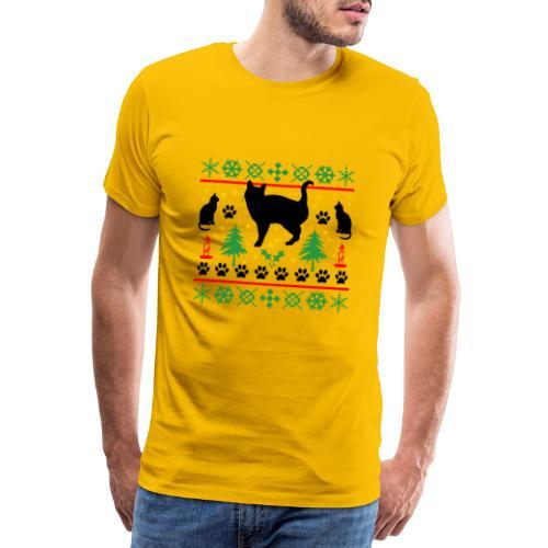Kerst met katten - Mannen Premium T-shirt