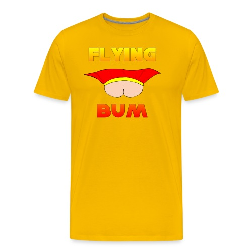 Flying Bum (face on) with text - Men's Premium T-Shirt