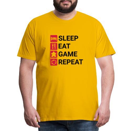 SLEEP, EAT, GAME, REPEAT - Premium T-skjorte for menn