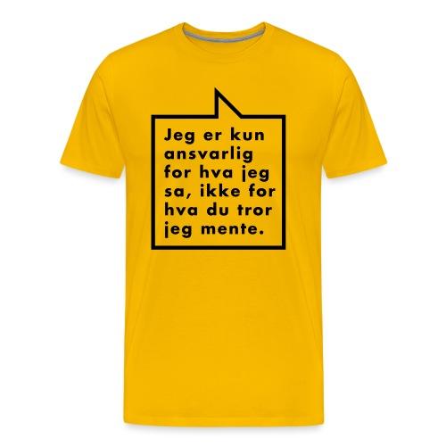 Ikke ansvarlig (fra Det norske plagg) - Premium T-skjorte for menn