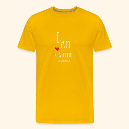 T Shirt Druck I am grateful Schwanenbussi weiss - Männer Premium T-Shirt