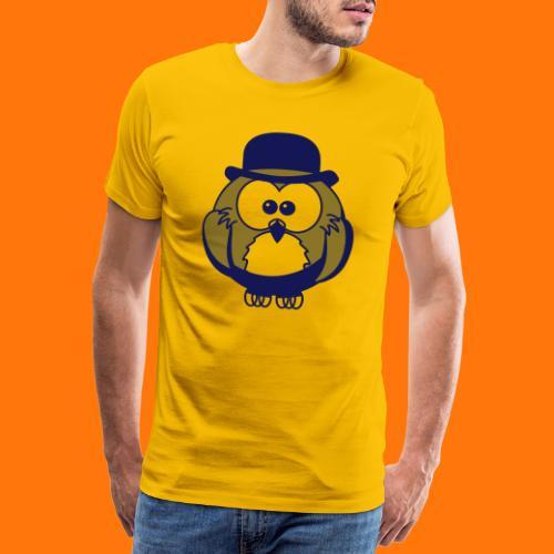 Eule mit Hut - Männer Premium T-Shirt