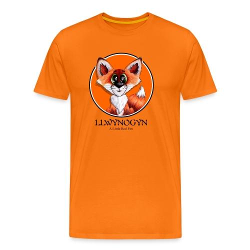 llwynogyn - a little red fox (black) - Miesten premium t-paita