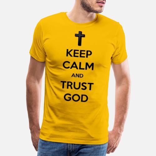 Keep Calm and Trust God (Vertrouw op God) - Mannen Premium T-shirt