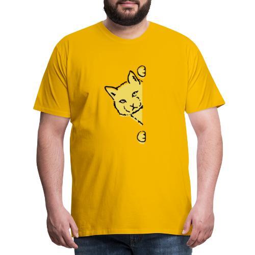En gul katt - Premium-T-shirt herr