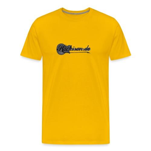 Tasse - schwarz - Hackisan-Logo vorne u. hinten - Männer Premium T-Shirt