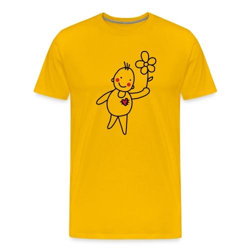 Strichmännchen Blume Herz Kinderzeichnung Graffiti - Men's Premium T-Shirt