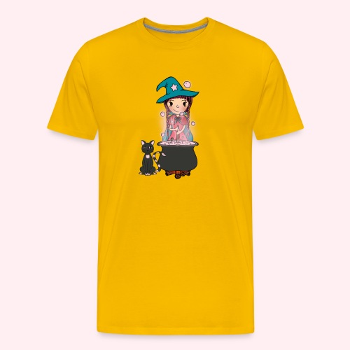 Witch Penelope and cat - Männer Premium T-Shirt