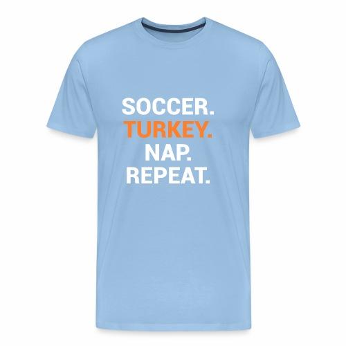 Fußball Design zu Thanksgiving und Truthahnessen - Männer Premium T-Shirt