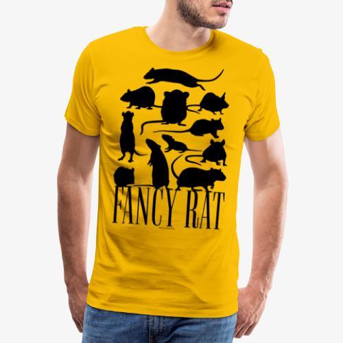Fancy Rat Black - Miesten premium t-paita