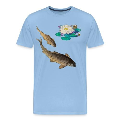 Koi mit Seerosen - Männer Premium T-Shirt