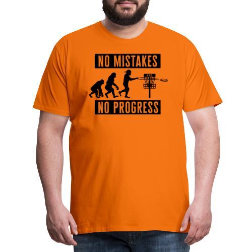 Disc golf - No mistakes, no progress - Black - Miesten premium t-paita