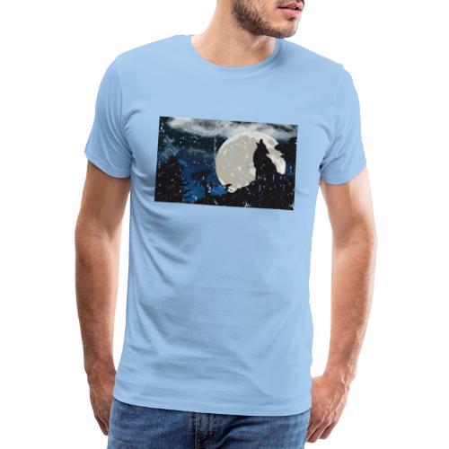 Wolf versus Mond - Männer Premium T-Shirt