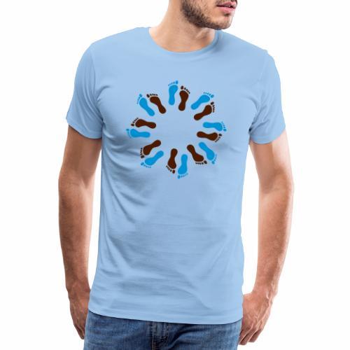 Barfuß-Kreis blau-braun - Männer Premium T-Shirt