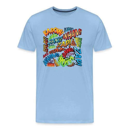 Comic Book Pop Art Colorful Typography Pattern - Men's Premium T-Shirt