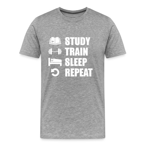 Study & Train - Miesten premium t-paita