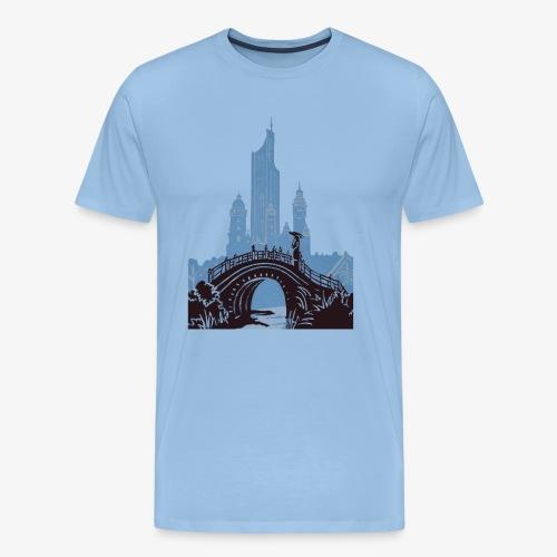 Streetart Brücke Frau - Männer Premium T-Shirt