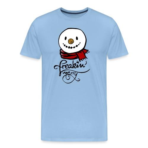 Freaking merry Schneemann roter Schal Weihnachten - Männer Premium T-Shirt