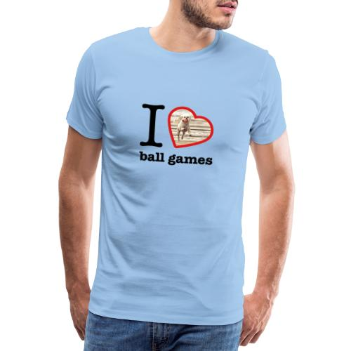 I love ball games Dog playing ball retrieving ball - Men's Premium T-Shirt
