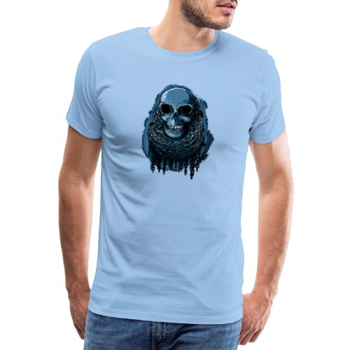 SKULL in CHAINS - deepBlue - Men's Premium T-Shirt