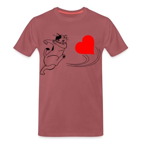 Katze Kickt Herz, Cat kick a Heart, Love, Ball - Männer Premium T-Shirt