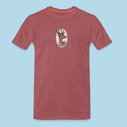 Junger Hirsch - Rehbock - rosa Vignette - Männer Premium T-Shirt