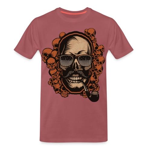 tete de mort hipster skull crane pipe moustache fa - T-shirt Premium Homme