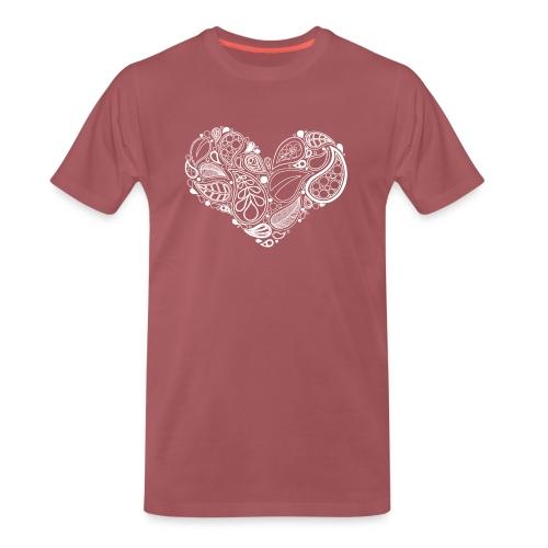 White Leaf Heart Mandala - Men's Premium T-Shirt