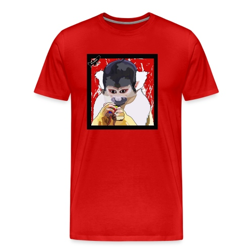 'Clever Monkey 2' by BlackenedMoonArts, w. logo - Herre premium T-shirt