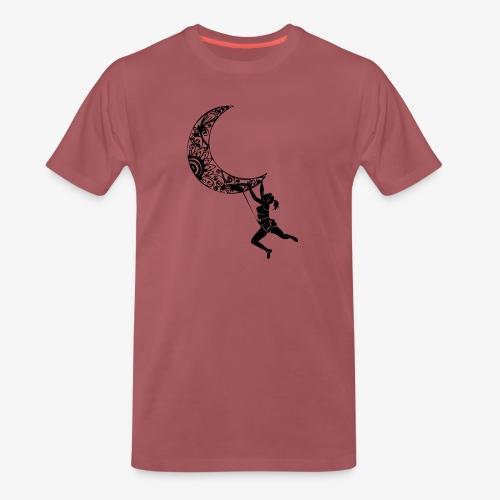 Climbing Woman Girl moon - Climber on the moon - Men's Premium T-Shirt