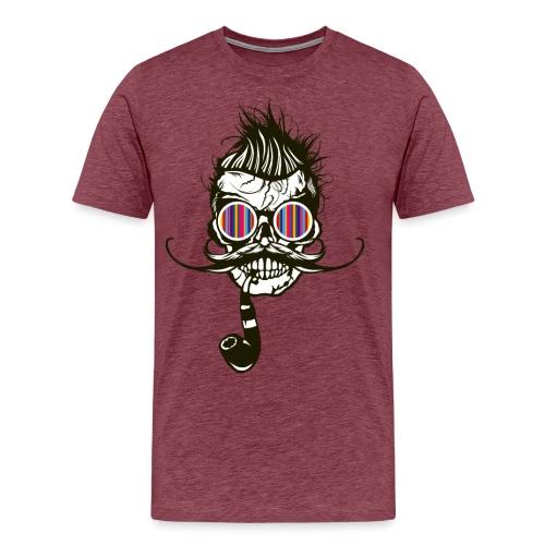 tete de mort hipster pipe crane skull coiffure pun - T-shirt Premium Homme