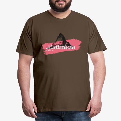 Matterhorn - Cervino - Color Coral - Men's Premium T-Shirt
